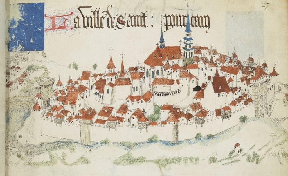 « Registre d'armes » ou armorial d'Auvergne, dédié par le hérault Guillaume REVEL au roi Charles VII.