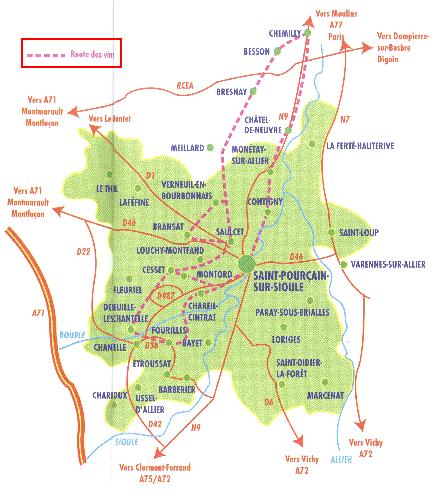 Carte de la route des vins
